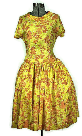 1960 Orange Blossom Vintage Cocktail or Prom Spring Dress - ROBINS HERITAGE USA Vintage