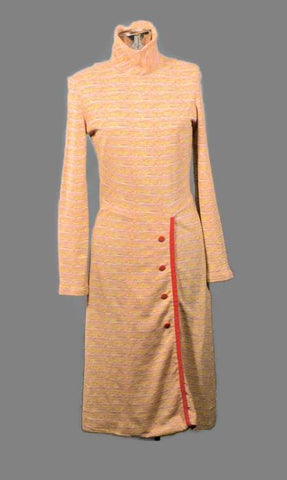 1970 Gogo Long Sleeve Vintage Knit Dress, Winter - ROBINS HERITAGE USA Vintage - 1