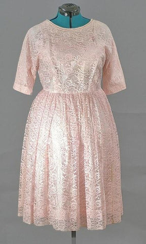 American 1950's Rose Lace Cocktail Dress, Just In - ROBINS HERITAGE USA Vintage