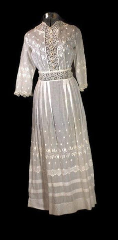 Antique 1900 Victorian Embroidered Tea Dress - ROBINS HERITAGE USA Vintage