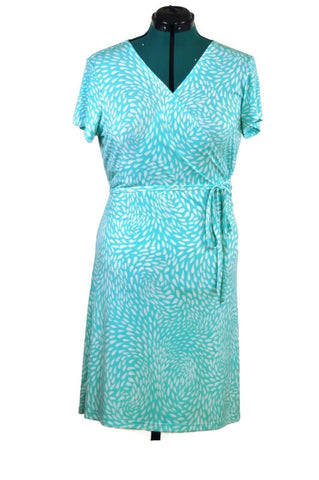 Retro Teal Knit Wrap Dress - ROBINS HERITAGE USA Vintage