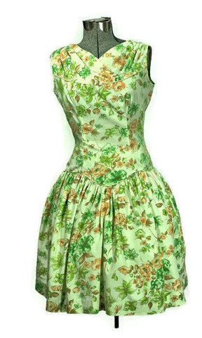 Rockabilly 1950's Mod-O-Day of California, Sunflower Cotton Dress - ROBINS HERITAGE USA Vintage