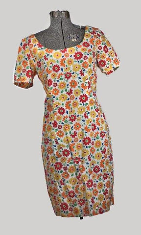 Vintage 1970 Summer Sunflowers MOD Cotton Dress, Plus Size - ROBINS HERITAGE USA Vintage