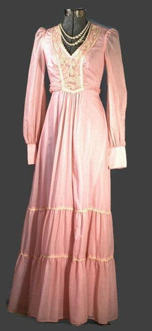 Vintage 1970s Jody T of California Bubblegum Pink Long Dress - ROBINS HERITAGE USA Vintage