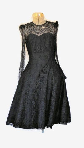 Vintage 1990's Little Black Lace Prom Dress - ROBINS HERITAGE USA Vintage