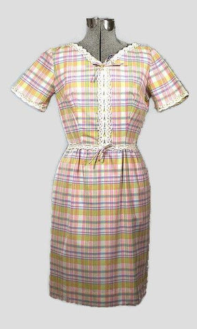 Vintage Plaid Spring Pastel Cotton Sheath Dress - ROBINS HERITAGE USA Vintage