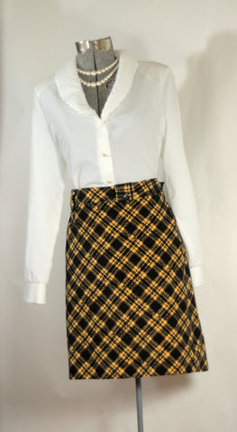 Vintage MOD Corduroy Yellow Jacket Plaid Mini Skirt - ROBINS HERITAGE USA Vintage