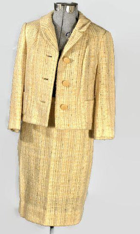 1950's Boucle Canary Yellow Vintage Wool Suit - ROBINS HERITAGE USA Vintage - 1