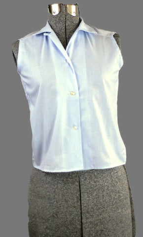 Periwinkle Vintage 1960 Sleeveless Cotton Blouse Just In - ROBINS HERITAGE USA Vintage