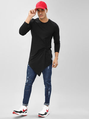 Longline T-Shirt With Asymmetrical Hem