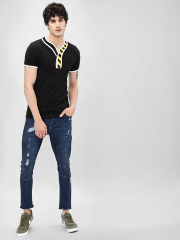 Printed Placket Short Sleeve T-Shirt