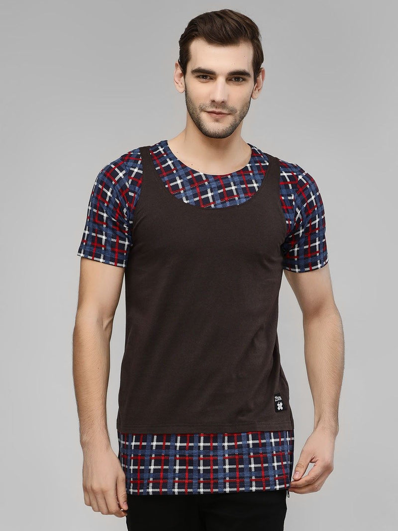 Cut & Sew Checkered T-Shirt