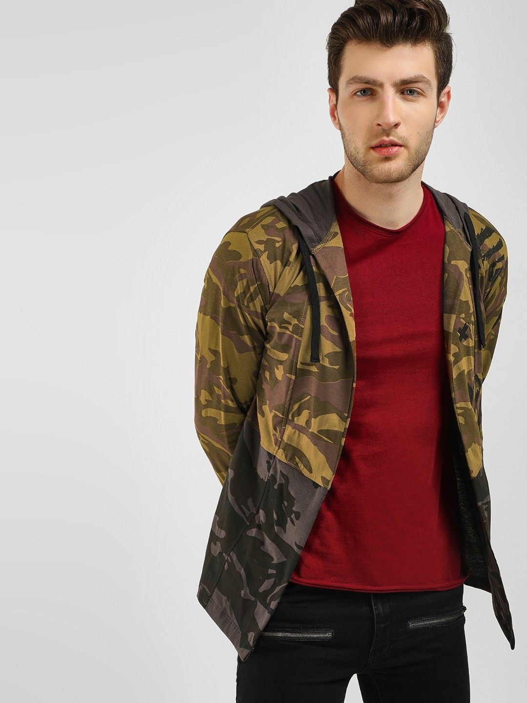 Camo Print Hooded Cardigan