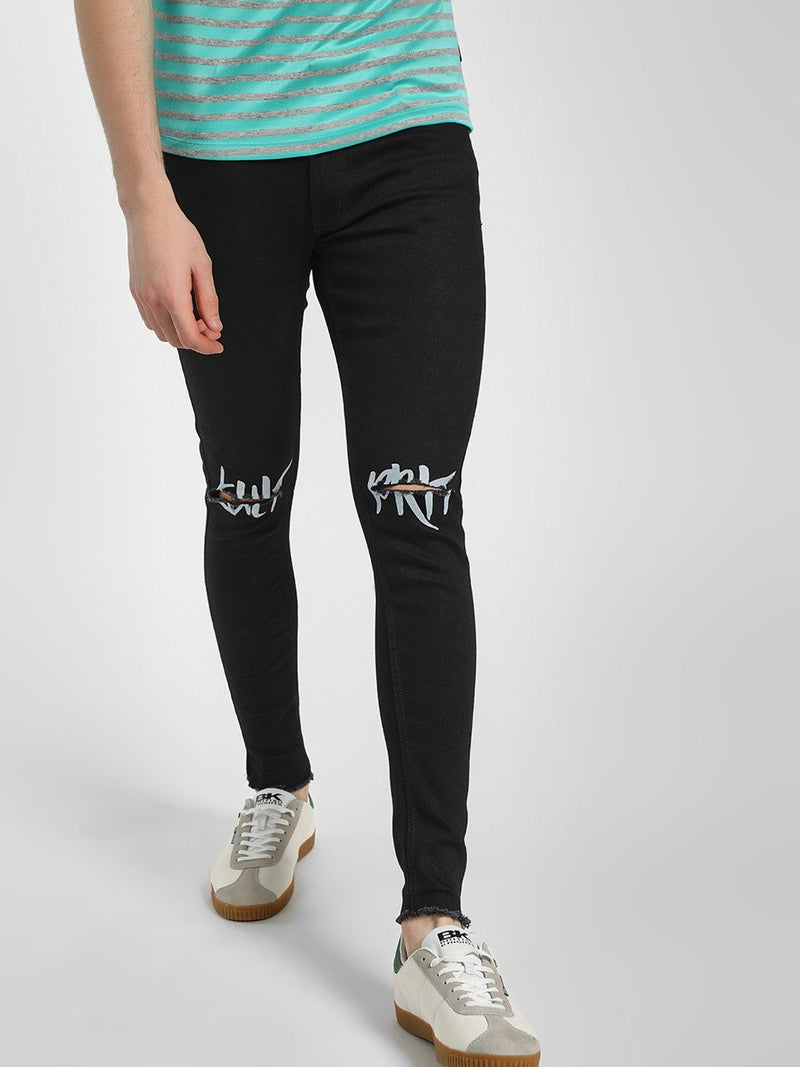 Slogan Ripped Skinny Fit Jeans