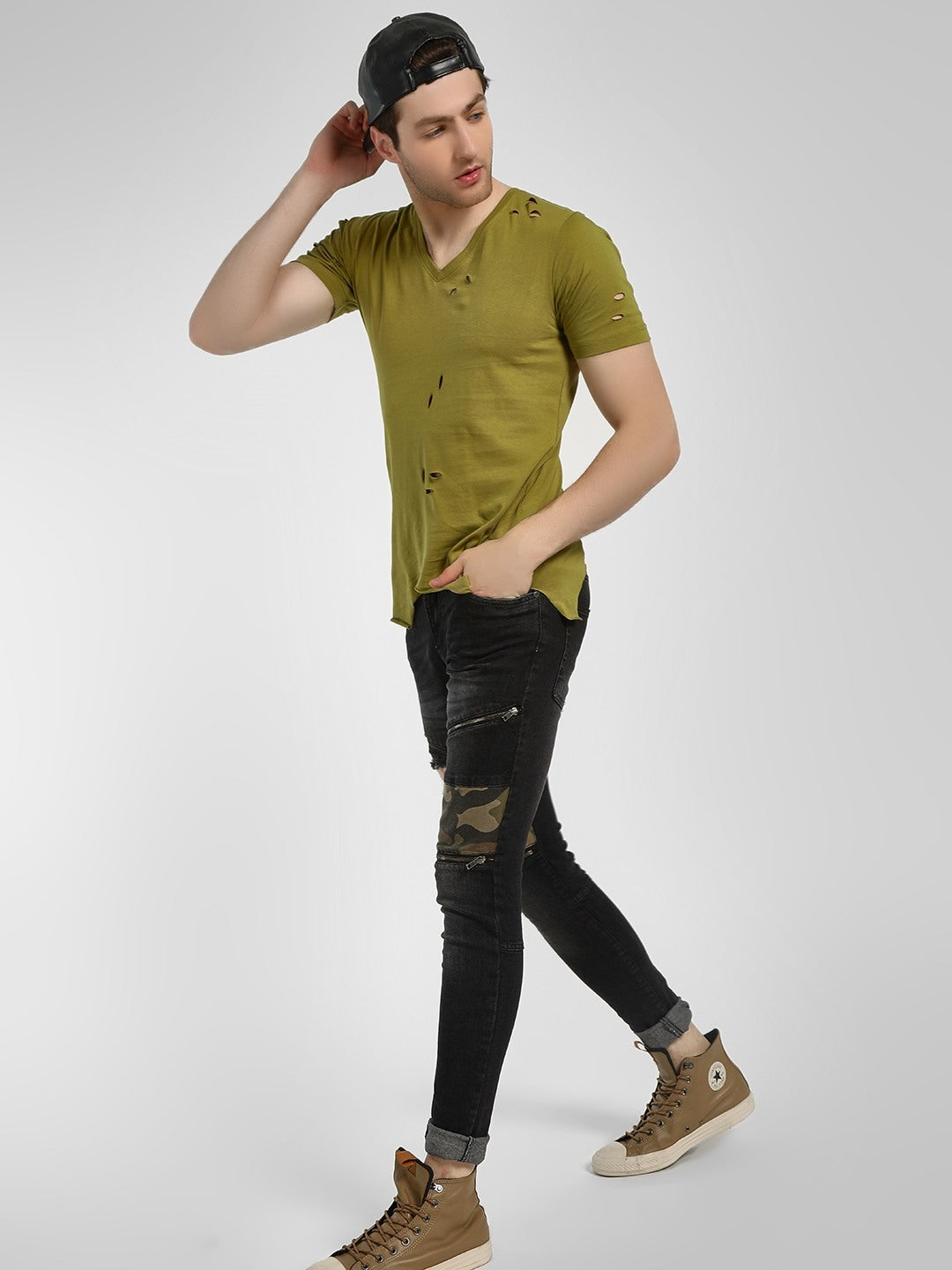 Distressed Camo Patchwork Slim Jeans