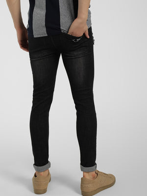 Studded Distressed Slim Fit Jeans