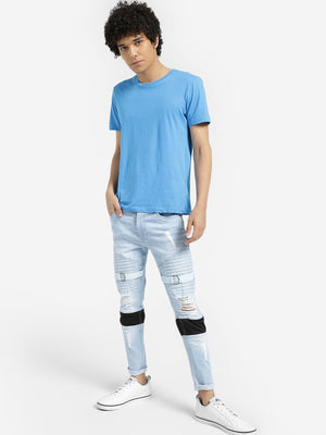 Light Wash Distressed Pintuck Skinny Jeans
