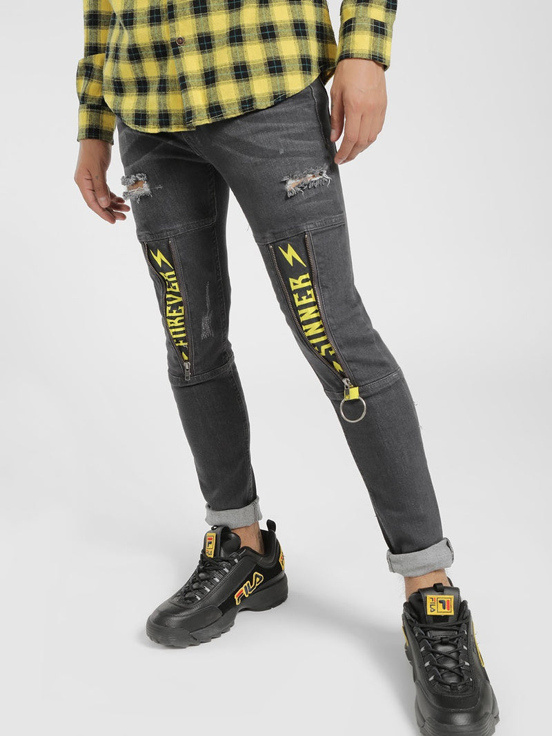 Mid-Wash Distressed Panel Skinny Jeans
