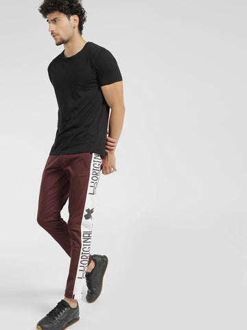 Slogan Side Tape Slim Trousers