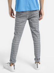 Distressed Glen Check Slim Trousers