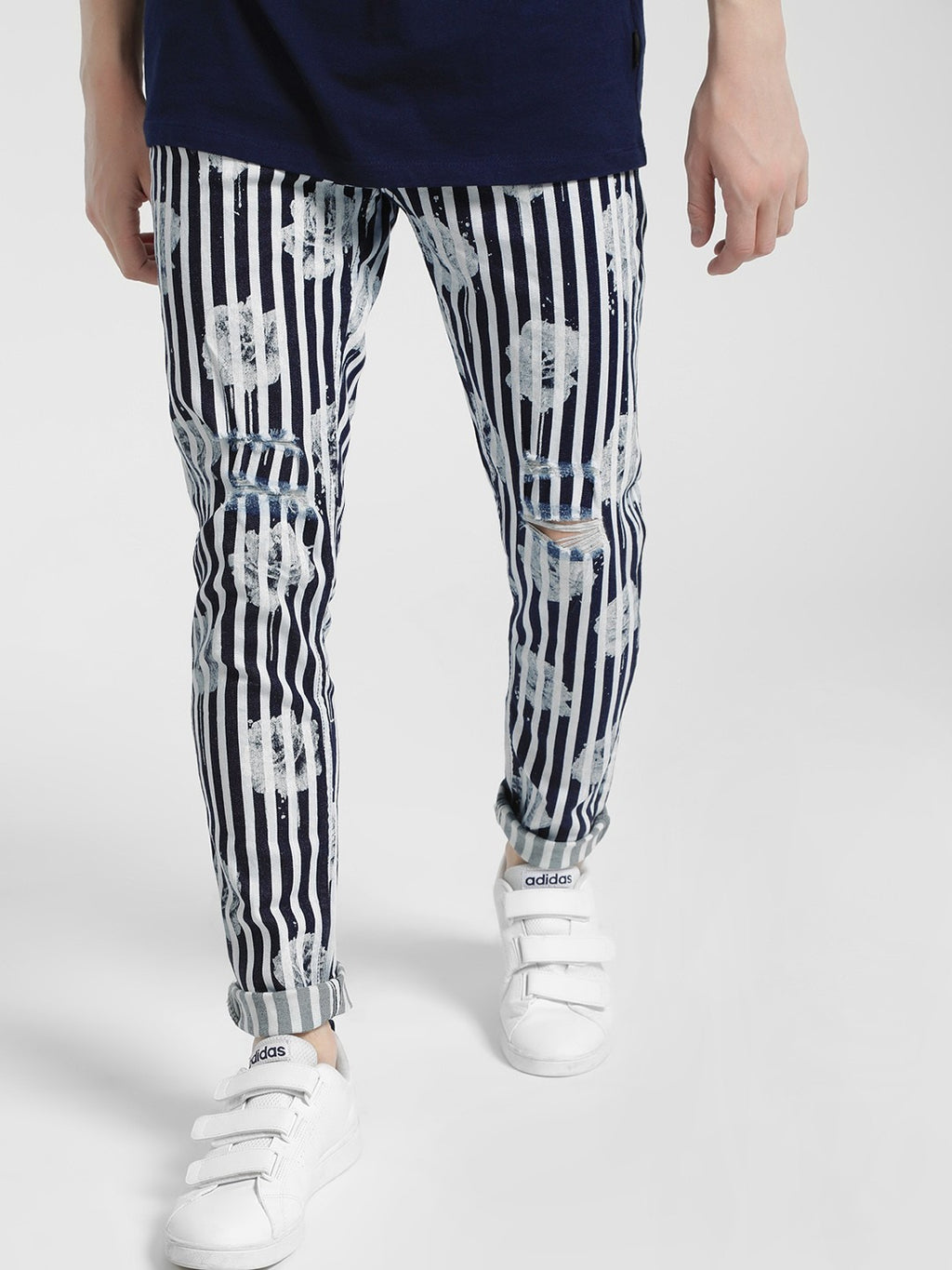 Stripe Overdyed Floral Print Jeans