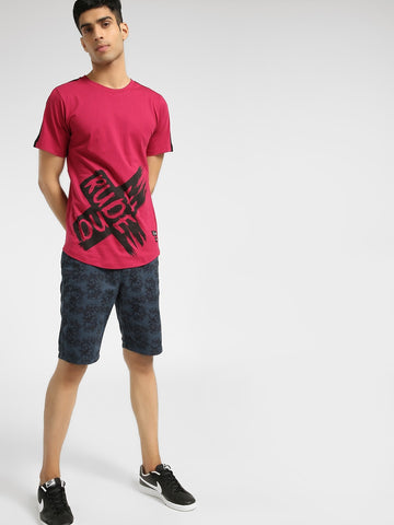 Rude Cross Print Longline T-Shirt