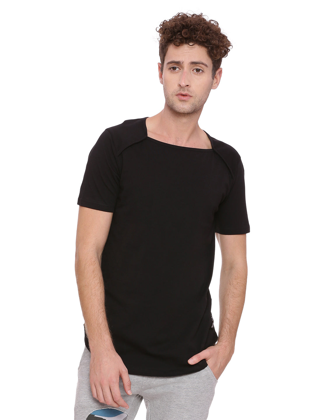 Square Neck T-shirt with neck binding