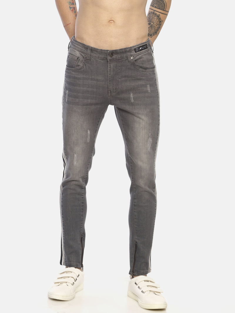 skinny denims with dual contrast tapes