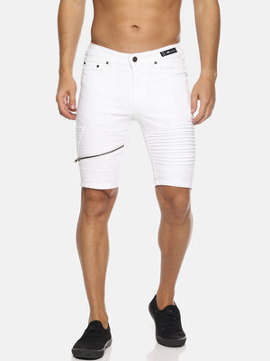 White Solid Shorts With Zip Detail