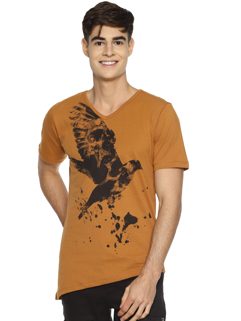 Brown chest print t-shirt