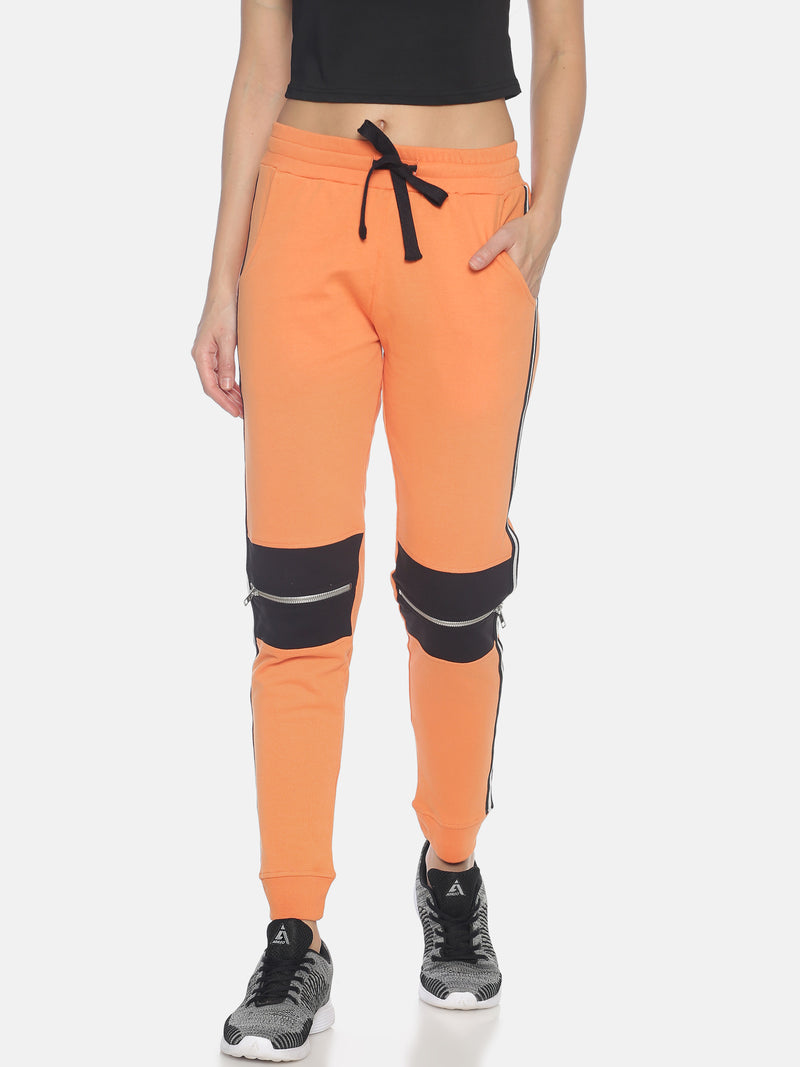 Women Slim Fit Solid Joggers with Side Tape & knee zipper