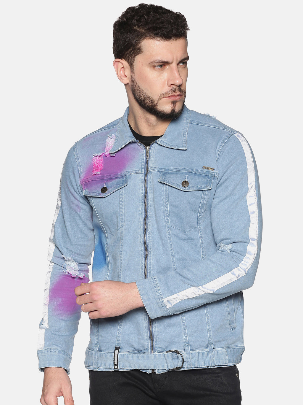 Impackt Men's Full Sleeves Denim Jackets With Distressed, Spray Print & Sleeve Side Tape