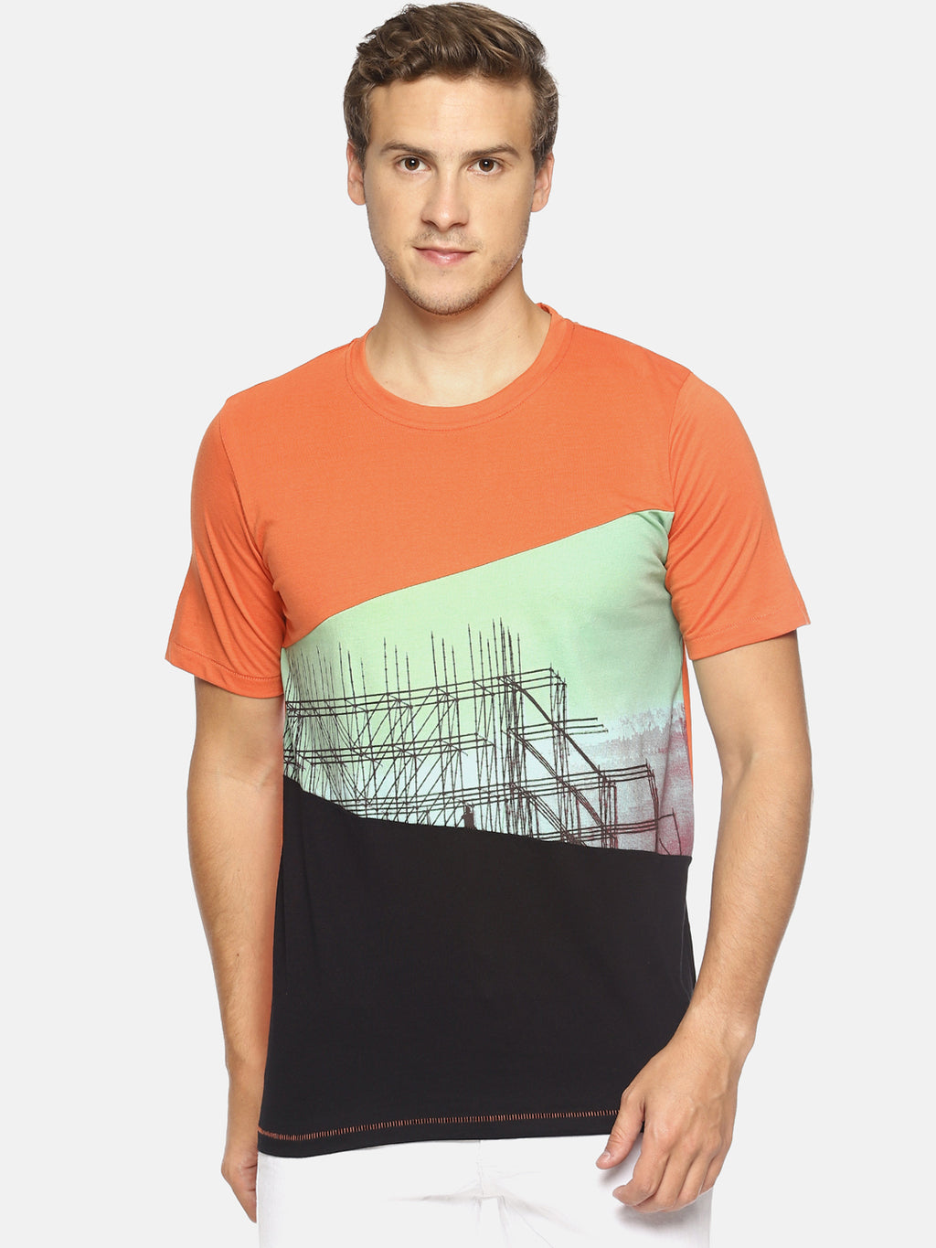 Orange printed cut & sew t-shirt