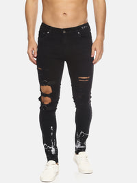Distressed Splatter Print Skinny Jeans