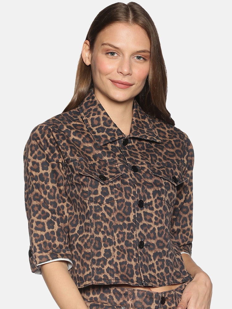 Crop Jacket With Leopard Print Pattern And Text And Image Print At Back
