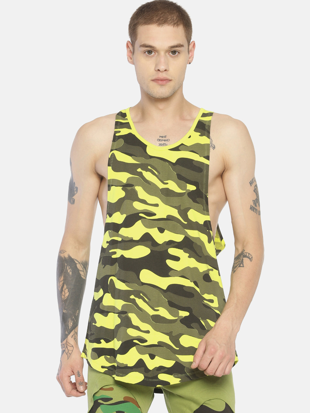 Deep Armhole Round Neck Sleeveless Tshirt With All Over Camo Print