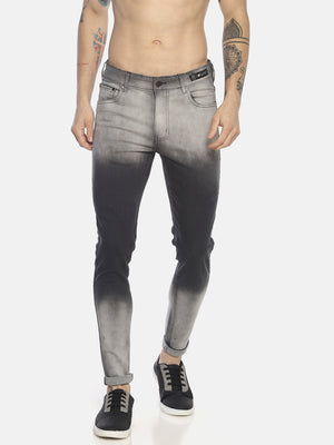 Skinny denims with heavy wash