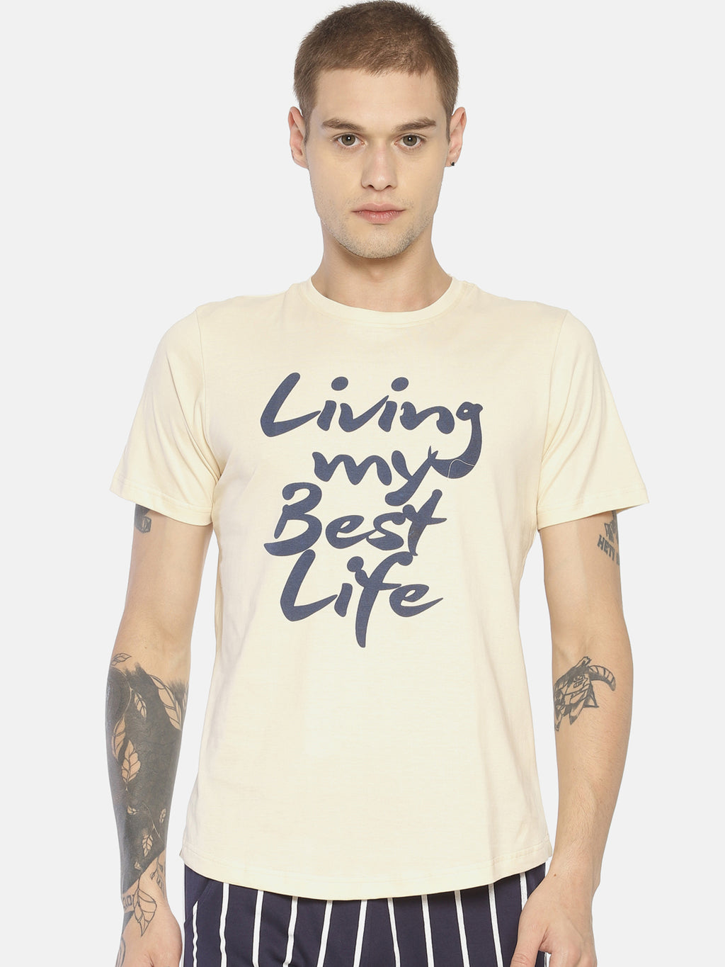 Beige typographic chest print t-shirt