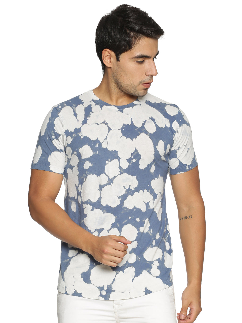 light blue printed t-shirt