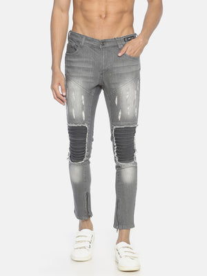 Skinny Denim With Patch And Zip