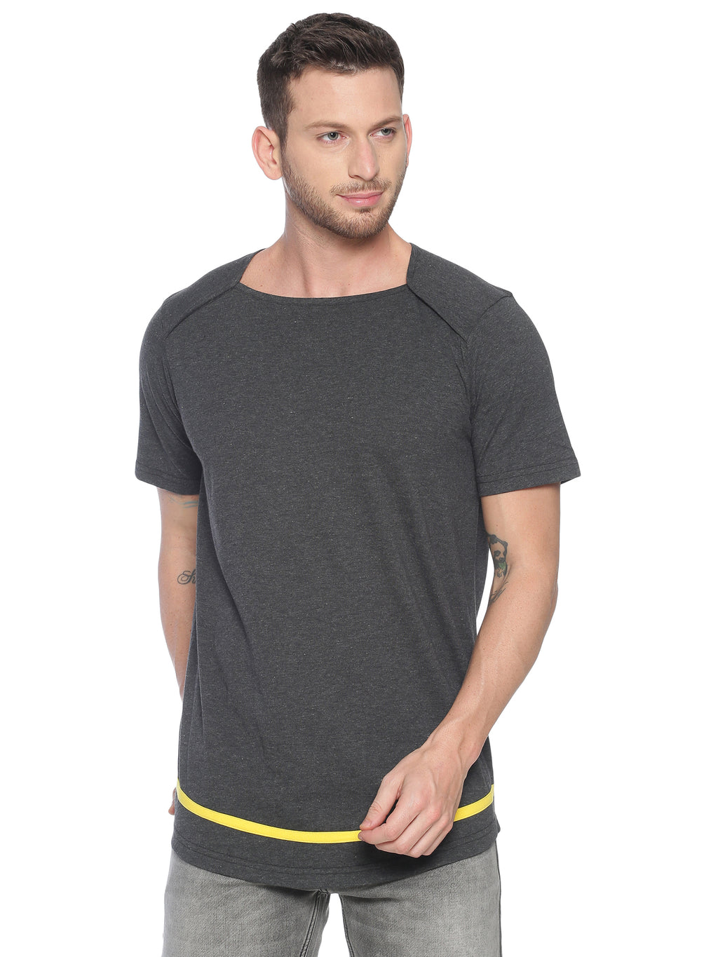 fashionable style T-Shirt ideal for men with Sqaure Neck Curve hem