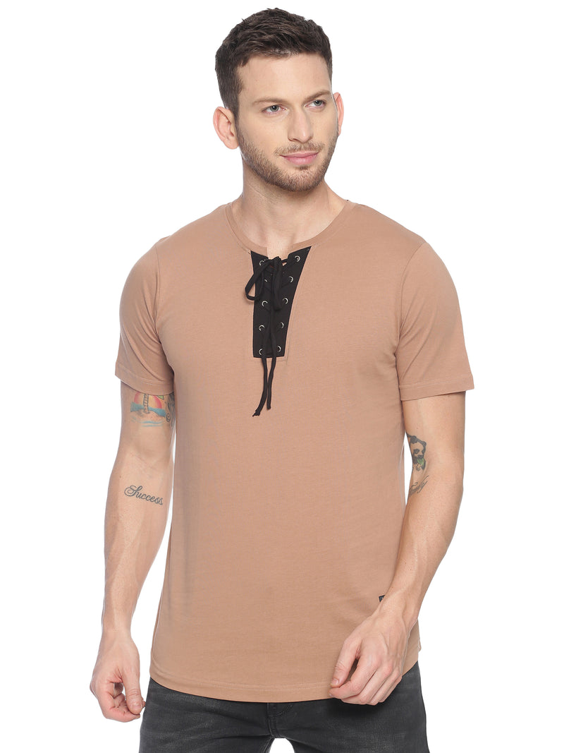 fashionable style T-Shirt ideal for men with Drawstring neck