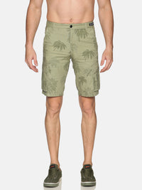 Kultprit Men's Shorts With Cargo Pocket & Allover Print