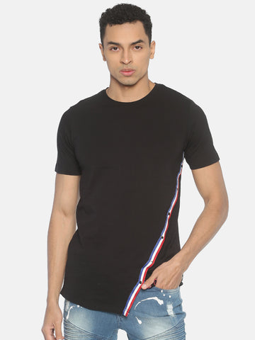 Round Neck Asymmetric Colour Block T-Shirt