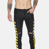 Fashion Black jeans with yellow print