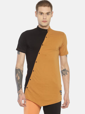 Colour Block Asymmetric Hem T-Shirt