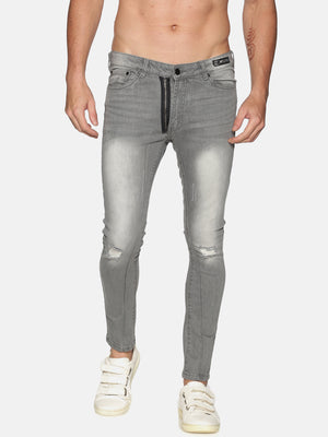 Kultprit Men's Solid Jeans With Fake Zipper