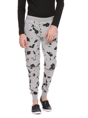 JOGGER WITH SPATTER PRINT AND SILVER ZIPPER AT KNEE