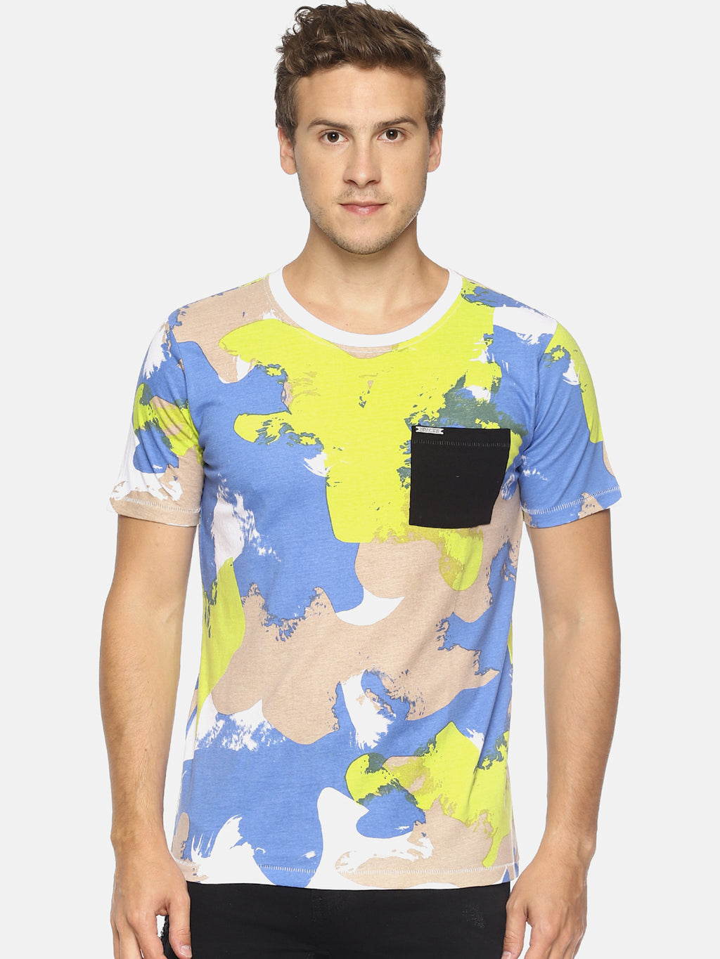 White camouflage print pocket t-shirt