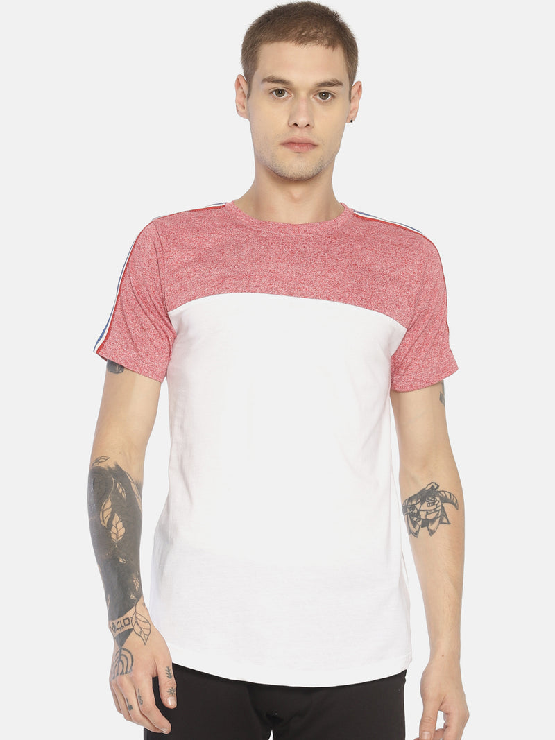 White cut & sew taped t-shirt